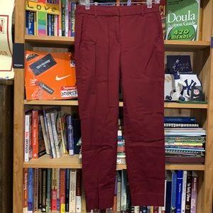 J.CREW-'MERCANTILE' burgundy slim stretch chino dress pants